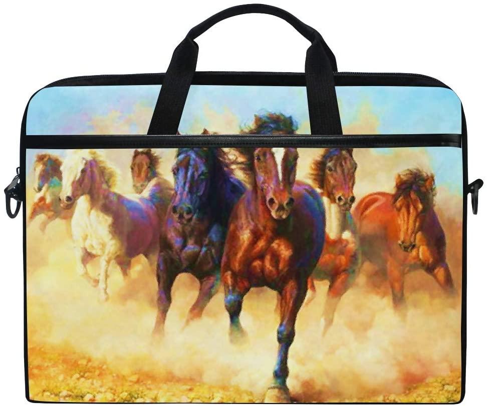ALAZA Dust Running Horse 15 inch Laptop Case Shoulder Bag Crossbody Briefcase Messenger Sleeve for Women Men Girls Boys with Shoulder Strap Handle, for Her Him