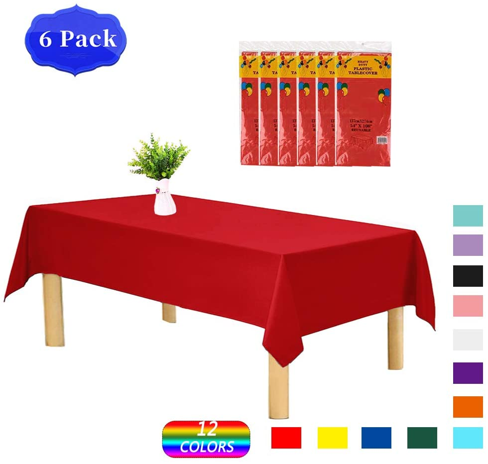 Wekymuu Disposable Tablecloth Plastic Table-Cloths Rectangle 6 Pack 54