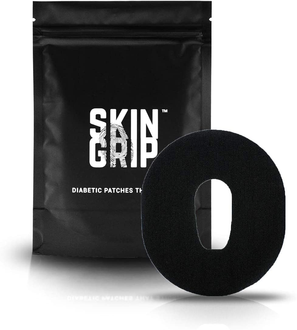 SKIN GRIP Dexcom G6 Adhesive Patches 20-Pack | Pre-Cut CGM Patch | Premium Continuous Glucose Monitor Protection | Waterproof Tape - Black
