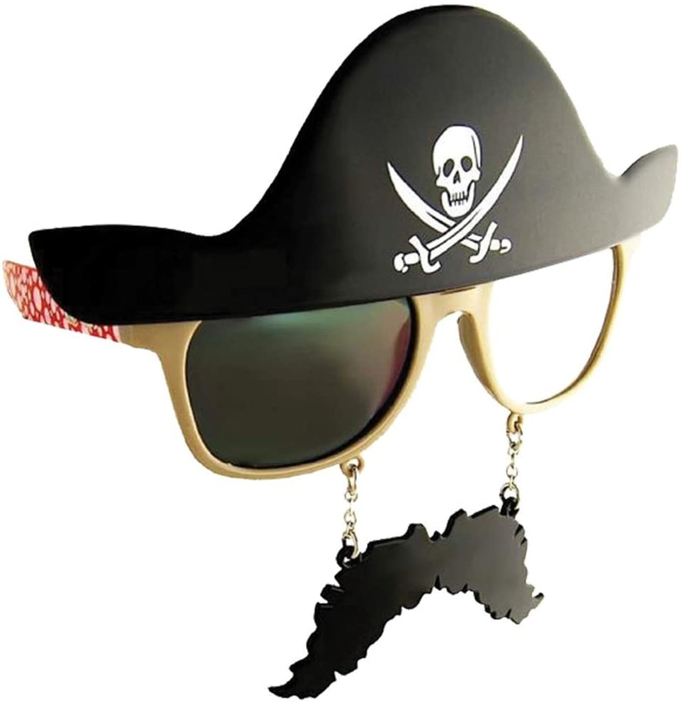 Costume Sunglasses Pirate Sun-Staches Party Favors UV400, One Size, Black
