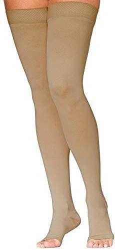 SIGVARIS Women's DYNAVEN Open Toe Thigh-Highs w/Grip-Top 30-40mmHg
