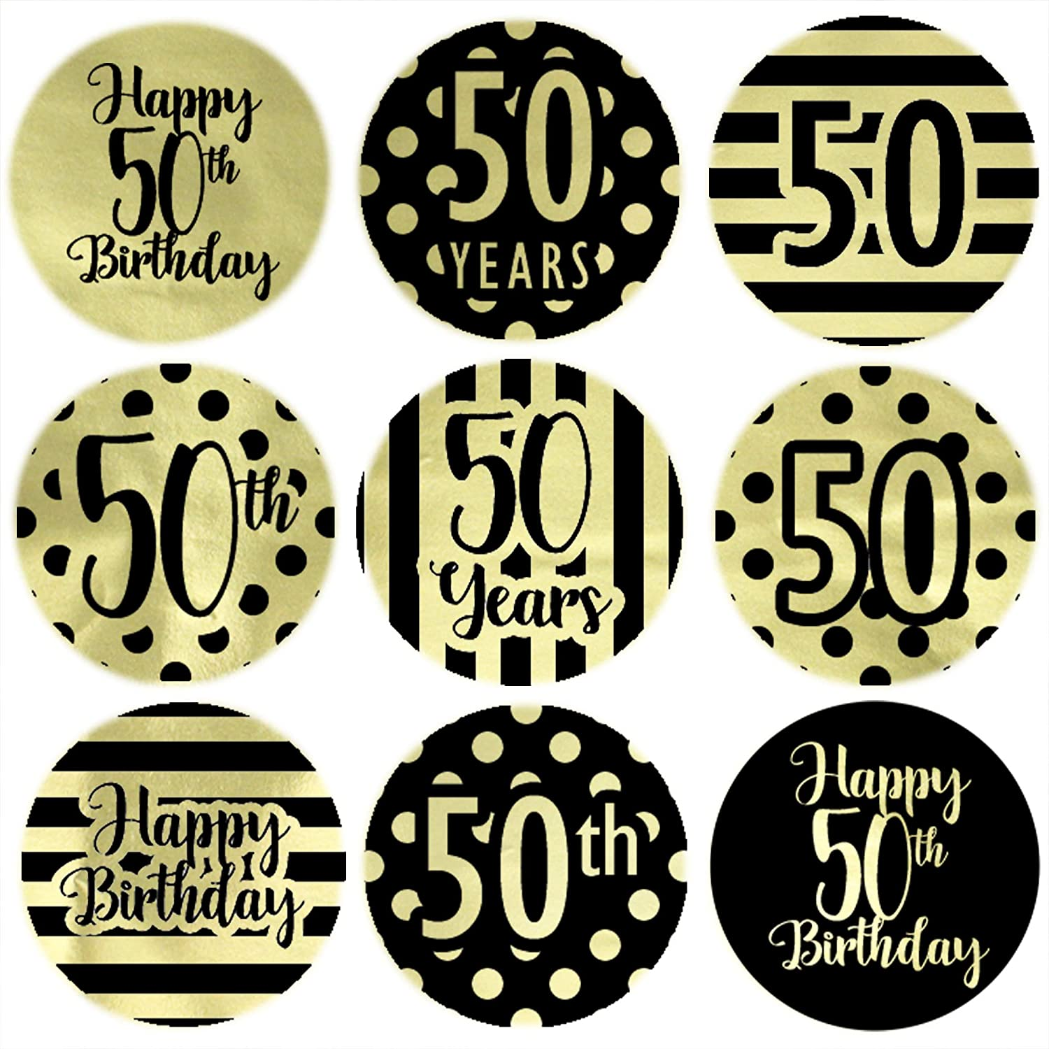 Black and Gold 50th Birthday Party Favor Stickers - Shiny Foil - 180 Labels