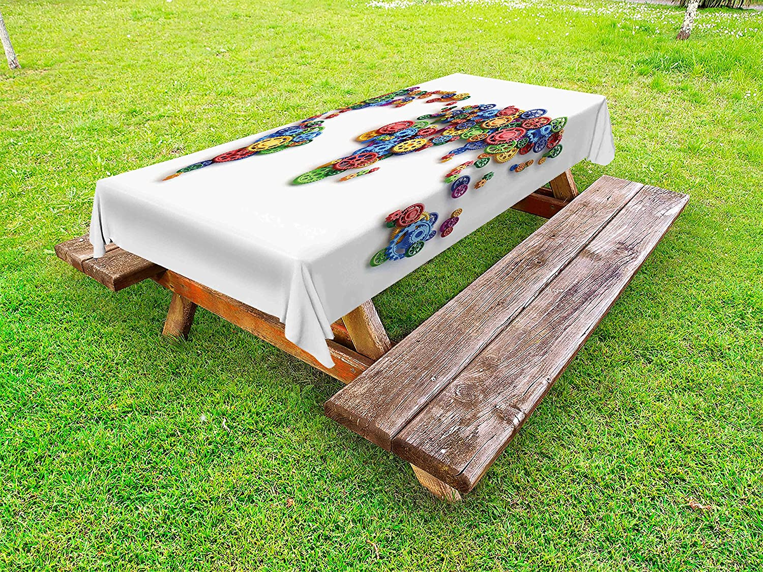Ambesonne Industrial Outdoor Tablecloth, Map of The World Colorful Gears Design Global Economy Concept Artwork Print, Decorative Washable Picnic Table Cloth, 58