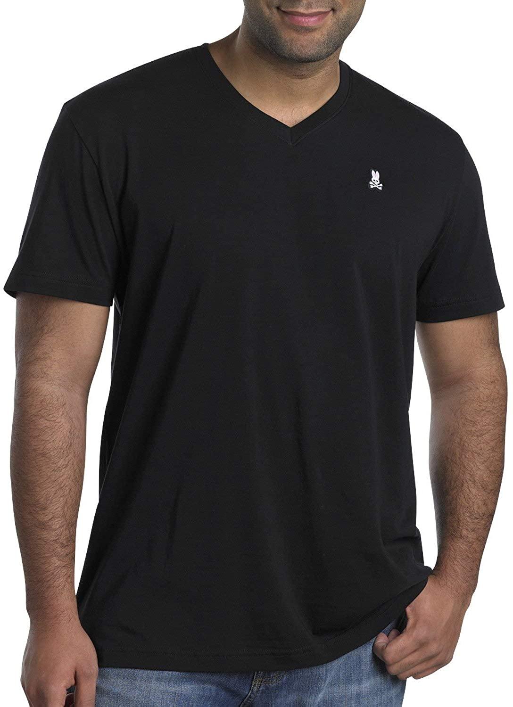 Psycho Bunny Big and Tall V-Neck Logo T-Shirts, Black 1X-Tall