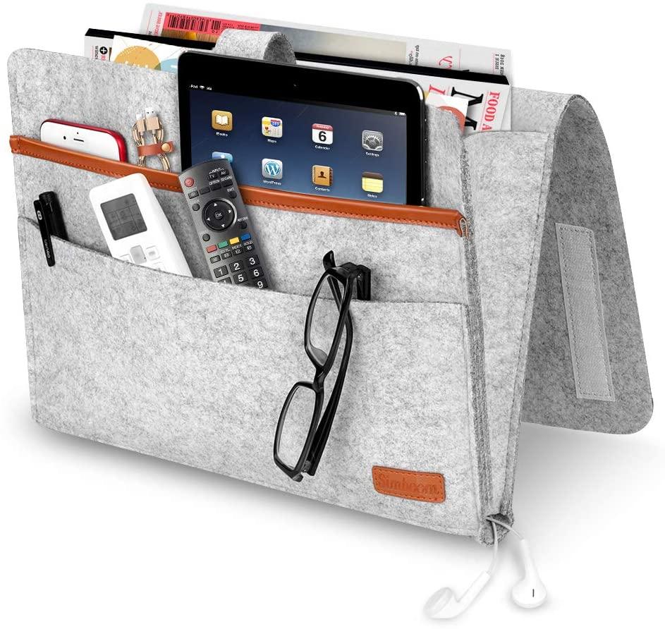 Simboom Felt Bedside Caddy Hanging Storage Organizer Anti-Slip, Magazine Phone Tablet iPad Glass Holder for Home Bed Rails, Sofa, Bunk Beds - Light Grey