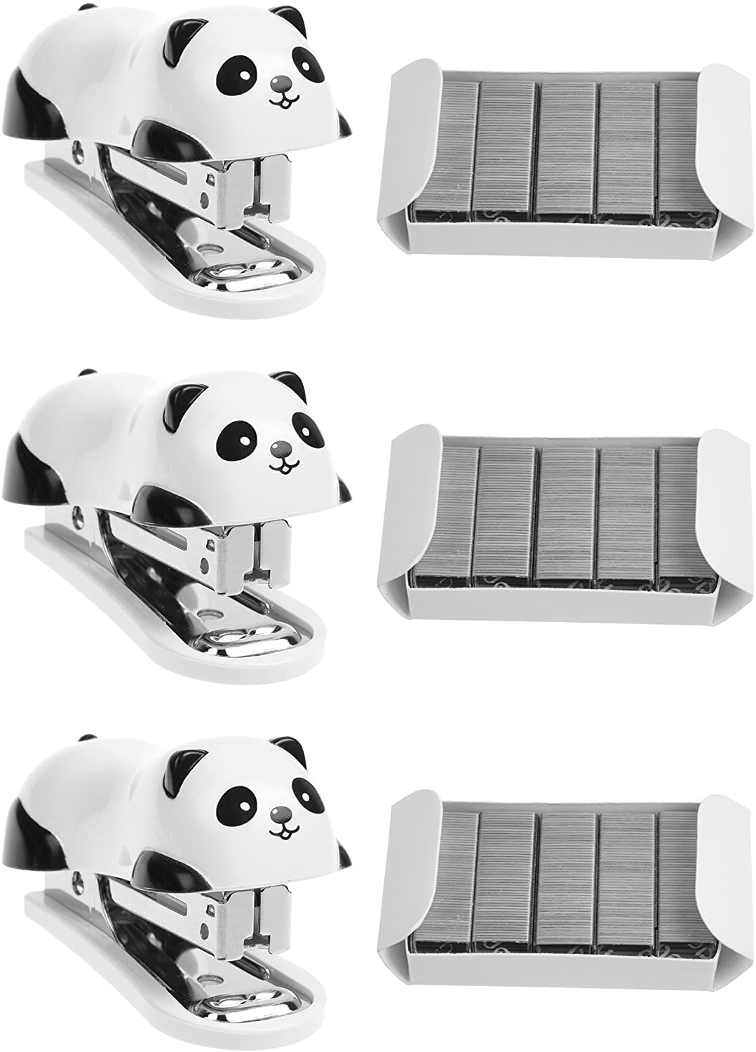 Beautyflier Pack of 3 Cute Mini Panda Staplers with 1000Pcs Replace Staples Cartoon Desktop Staplers Best Award to School Student Office Stationery Supplies