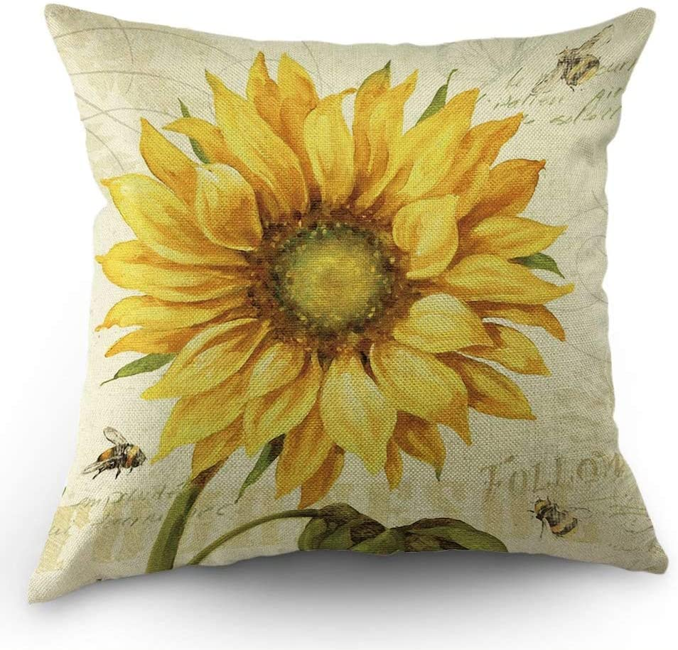 HL HLPPC Sunflower and Bee Throw Pillow Case Oil Painting Yellow Sunflower Cotton Linen Cushion Cover 18 x 18 Inches Standard Square Decorative Pillow Cover for Sofa and Bed One Side Print