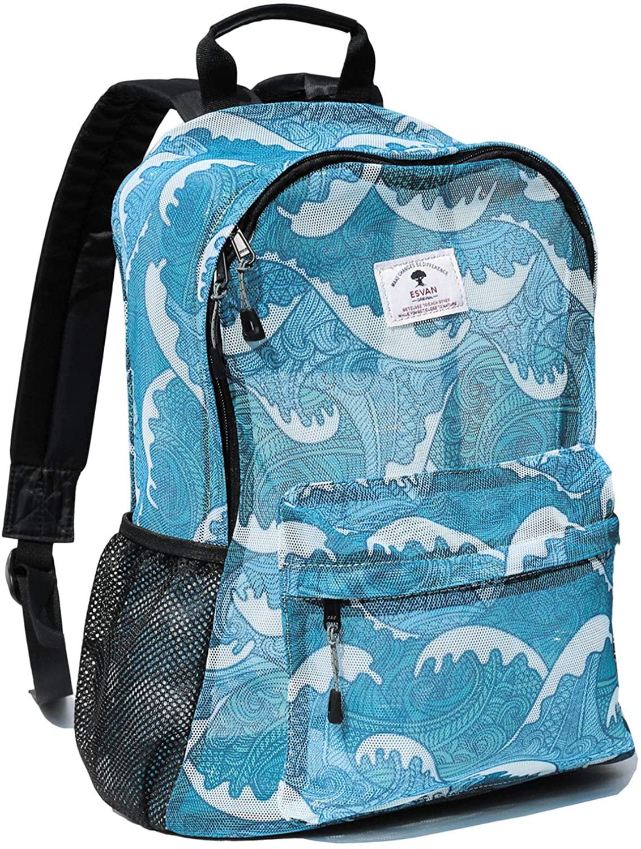 Original Print Mesh Backpack Semi-Transparent Sackpack See Through Beach Bag Daypack Multi-Purpose Women Men Unisex