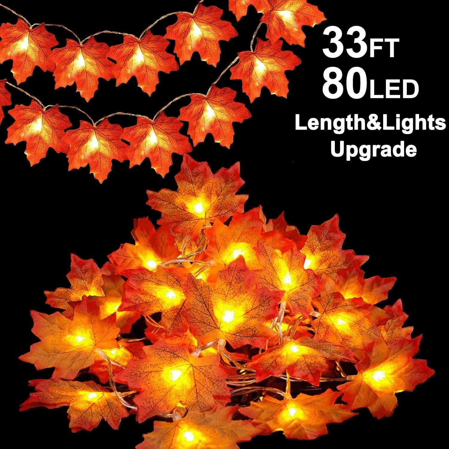 TURNMEON 33FT 80LED Upgrade Maples Leaves String Lights Fall Garland Battery Operated for Autumns Fall Halloween Thanksgivings Wedding Decor for Home Party Indoor Outdoor Decorations (Warm White)