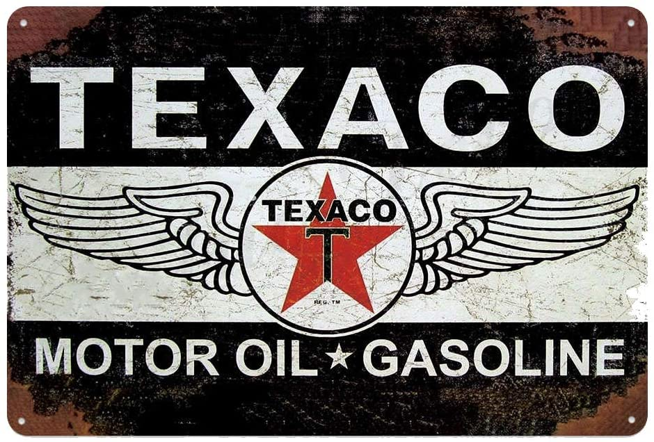 Original Vintage Design Texaco Motor Oil Tin Metal Wall Decoration Signs, Thick Tinplate Art Poster for Garage/Man Cave