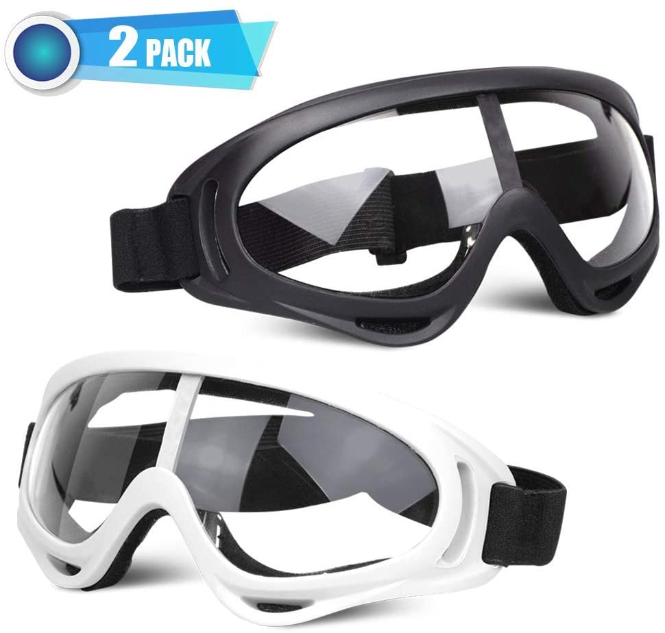 POKONBOY 2 Pack Protective Goggles, Motorcycle Safety Glasses Eye Protection with Bandanas Compatible with Nerf Blaster Gun (Black & White)