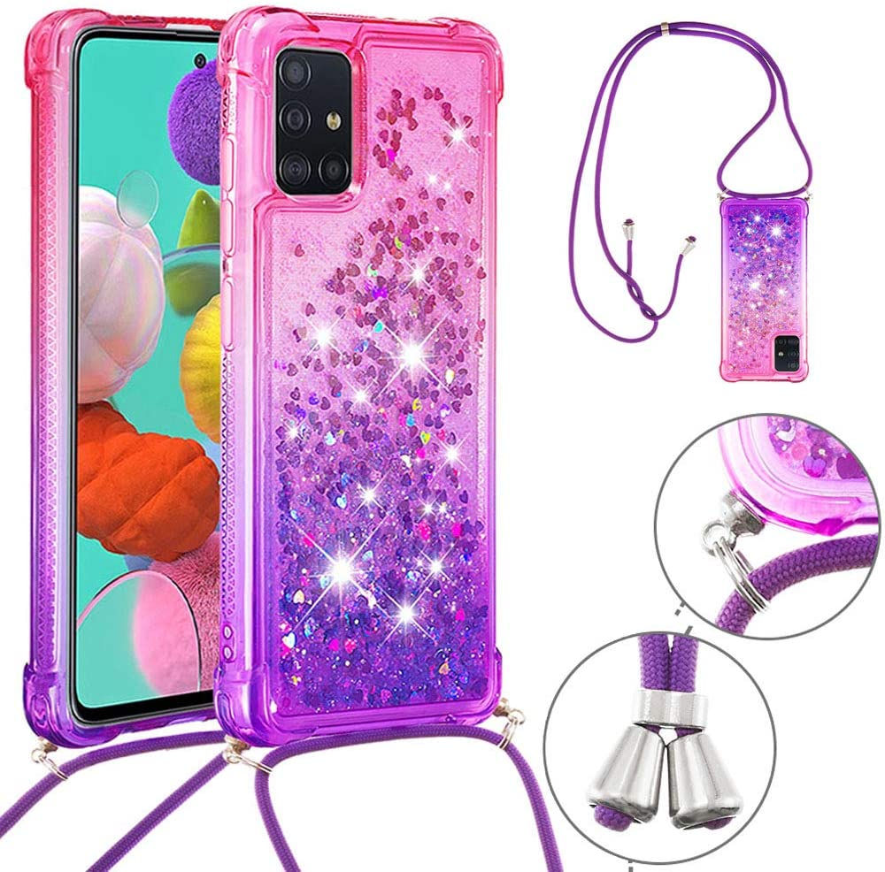 ISADENSER Phone Lanyard Case Designed for Samsung Galaxy A51 5G, Clear Soft TPU Glitter Shiny Flowing Liquid with Neck Strap Lanyard Backpack Style Portable Cover for Samsung A51 5G Pink Purple YB
