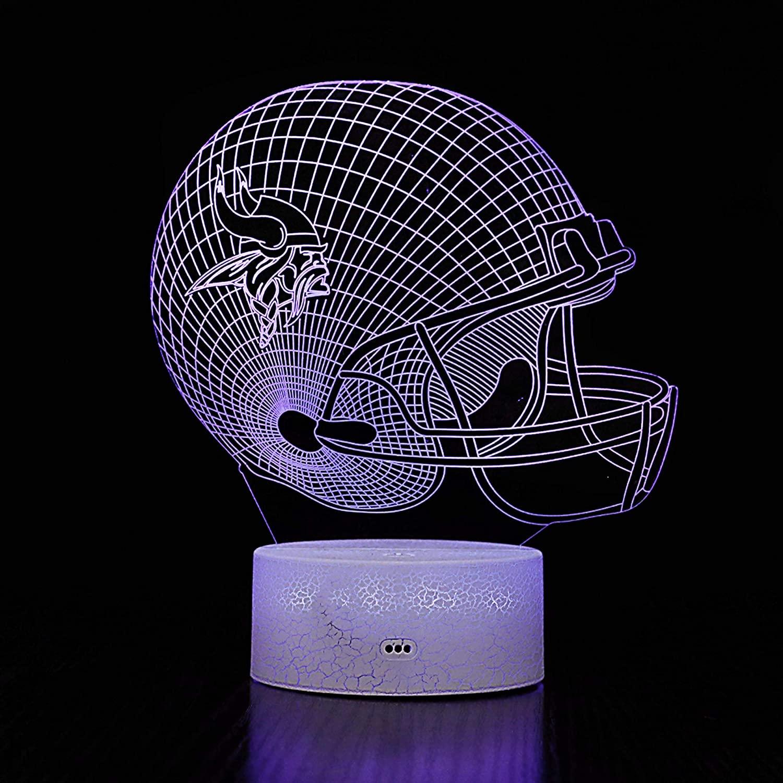 Bigfoot 3D LED Night Light Football Helmet Minnesota Vikings Flat Acrylic Illusion Lighting Lamp with 7 Colors and Touch Sensor, Sports Fan Nightlight Gift for Kids, Boys, Girls, Men or Women