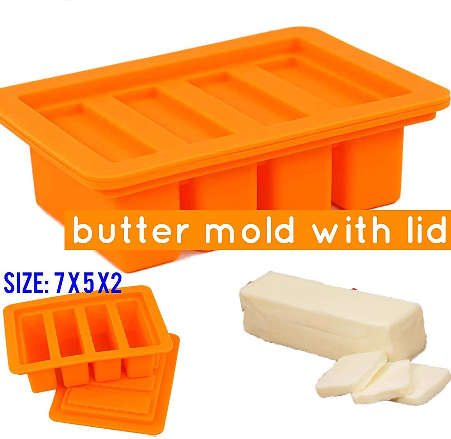 Large 4 Cavities butter mold silicone (orange)