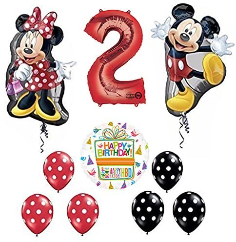 Mayflower Products Mickey and Minnie Mouse Full Body 2nd Birthday Supershape Balloon Set