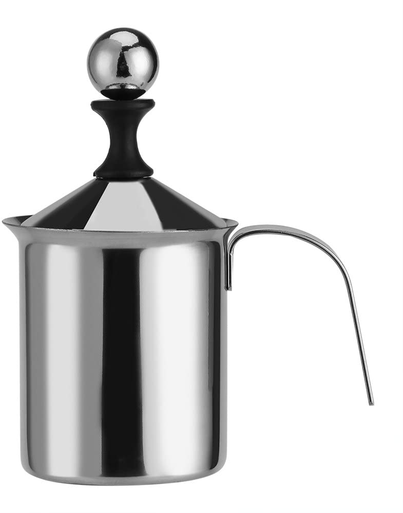 Manual Milk Frother, Stainless Steel Handheld Milk Frothing Pitchers, Double Mesh Coffee Cappuccino Foamer(800ML)