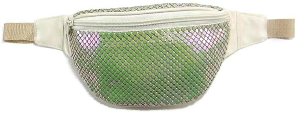 Women's Fanny Pack Metal Mesh Adjustable Belt for Music Rave Festival Party or Daily Use