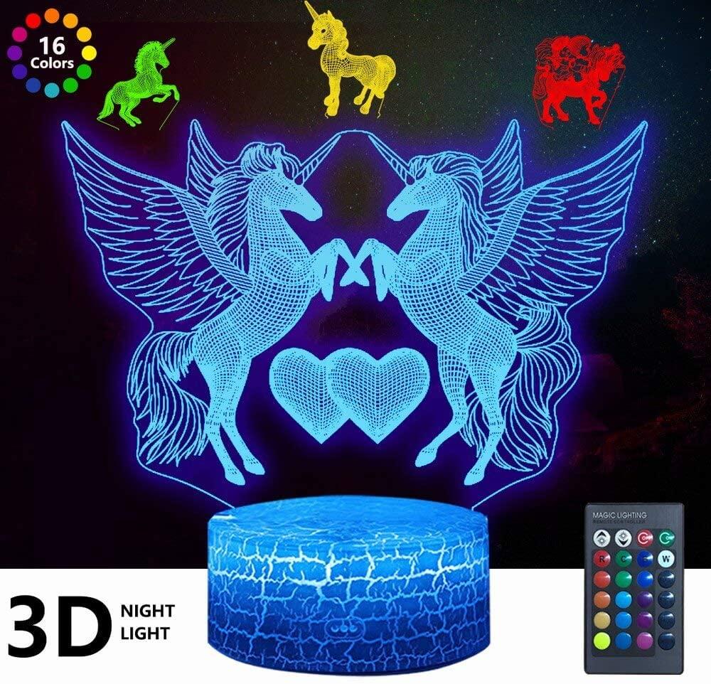 4 Pcs 3D Unicorn Night Light, DDDNIGHTLIGHT Led Illusion Lamp 16 Color Change Remote Control Decor Lights for Bed Living Room Kids Girls Boys Xmas 1709