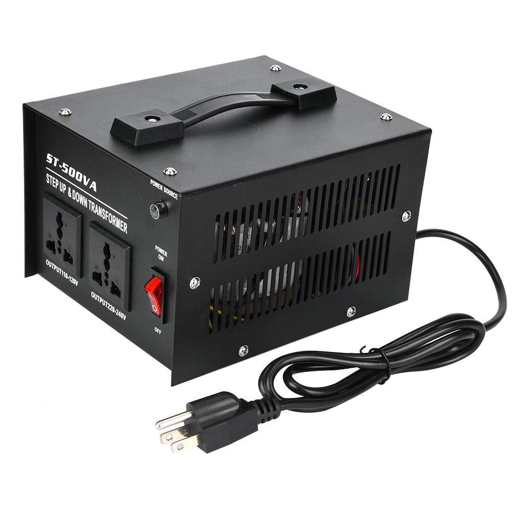 500W Voltage Converter Transformer, Step Up/Down Power Supply Power Converter with 2Pcs Universal Sockets 110V to 220V Power Transformer,ST-500VA