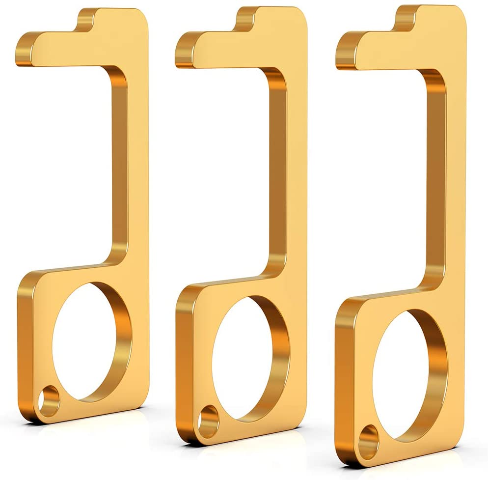 AmoVee Anti Touch Door Opener Tool, Multifunctional No Touch Door Opener Hand Tool 3Pcs Set Golden, Serves for Elevator and Safety Door Opener