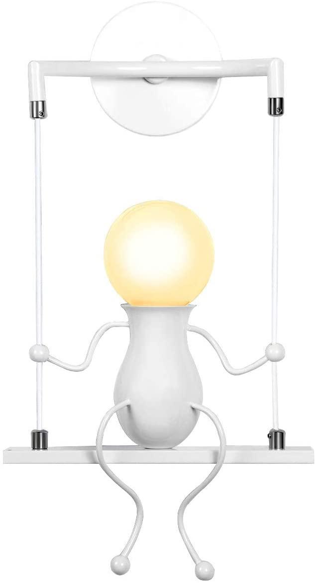 KAWELL Humanoid Creative Wall Light Adjustable Swing Metal Bedside Wall Lamp Modern Decor Wall Sconces Lighting Cartoon Doll Gift Wall Lamps LED Wall Light Fixtures Max 60W E26 White