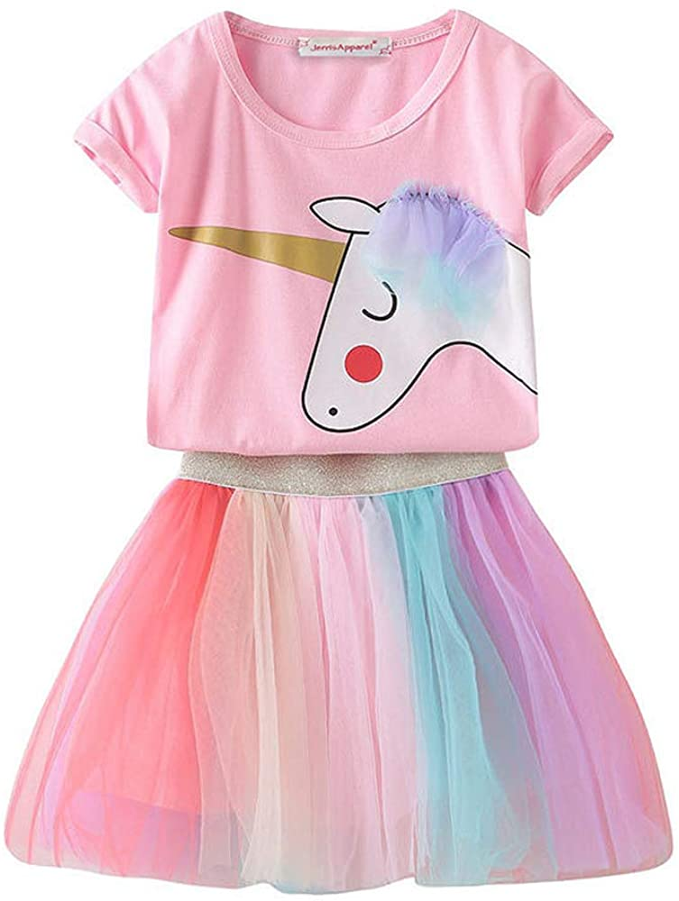 JerrisApparel Girls Unicorn Costume Birthday Party Outfit Rainbow Tutu Skirt Set