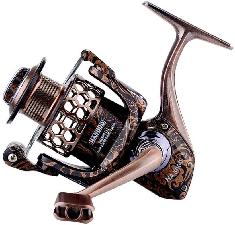 JIADIAONI Spinning Fishing Reels Lightweight Honeycomb Wire Cup 17+1BB Shielded Bearing 5.2:1 Alloy Transmission Gear Ratio HA Fine Carved Edition Fishing Reel