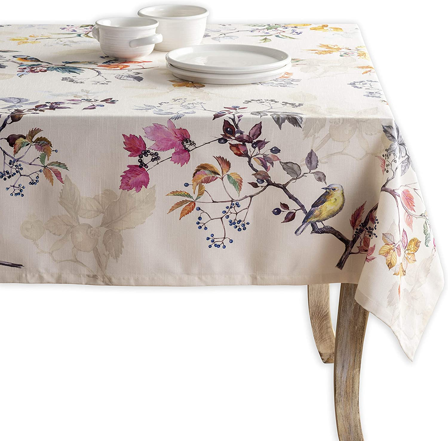 Maison d' Hermine Equinoxe 100% Cotton Tablecloth for Kitchen Dining | Tabletop | Decoration | Parties | Weddings | Thanksgiving/Christmas [Beige (Rectangle, 60 Inch by 90 Inch)]