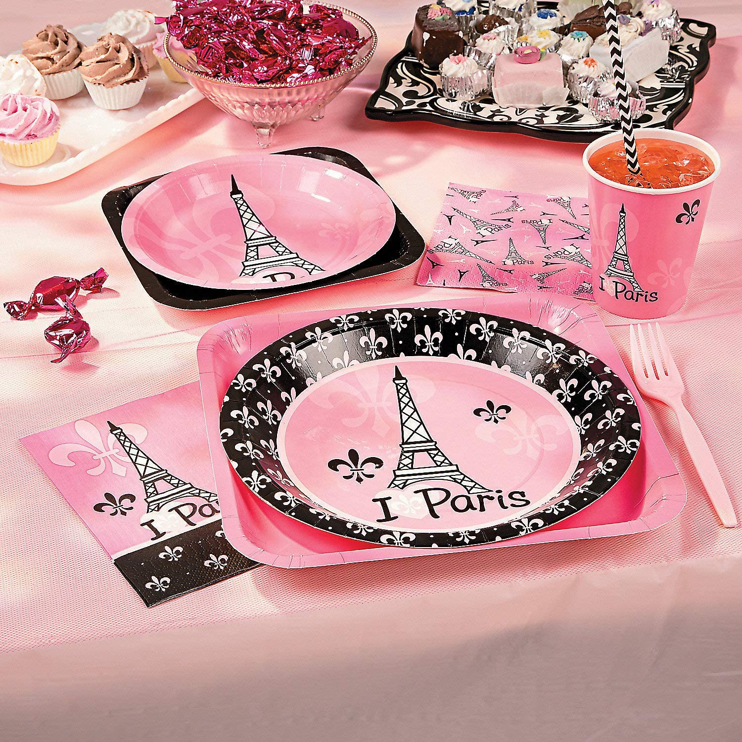 Perfectly Pink Paris Party Kit for 8 Guests (57 piece set) Plates, Cups, Napkins and Tablecloth