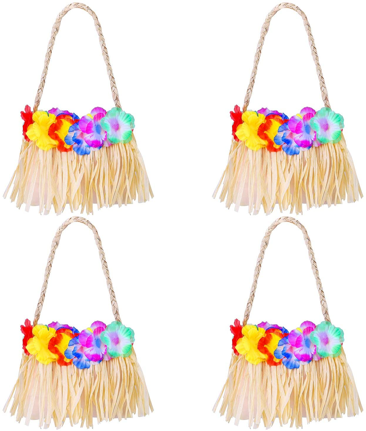 URATOT 4 Pack Hawaiian Handbag Women Hawaiian Fancy Dress Accessory Handbag with Colorful Flower for Luau Beach Party
