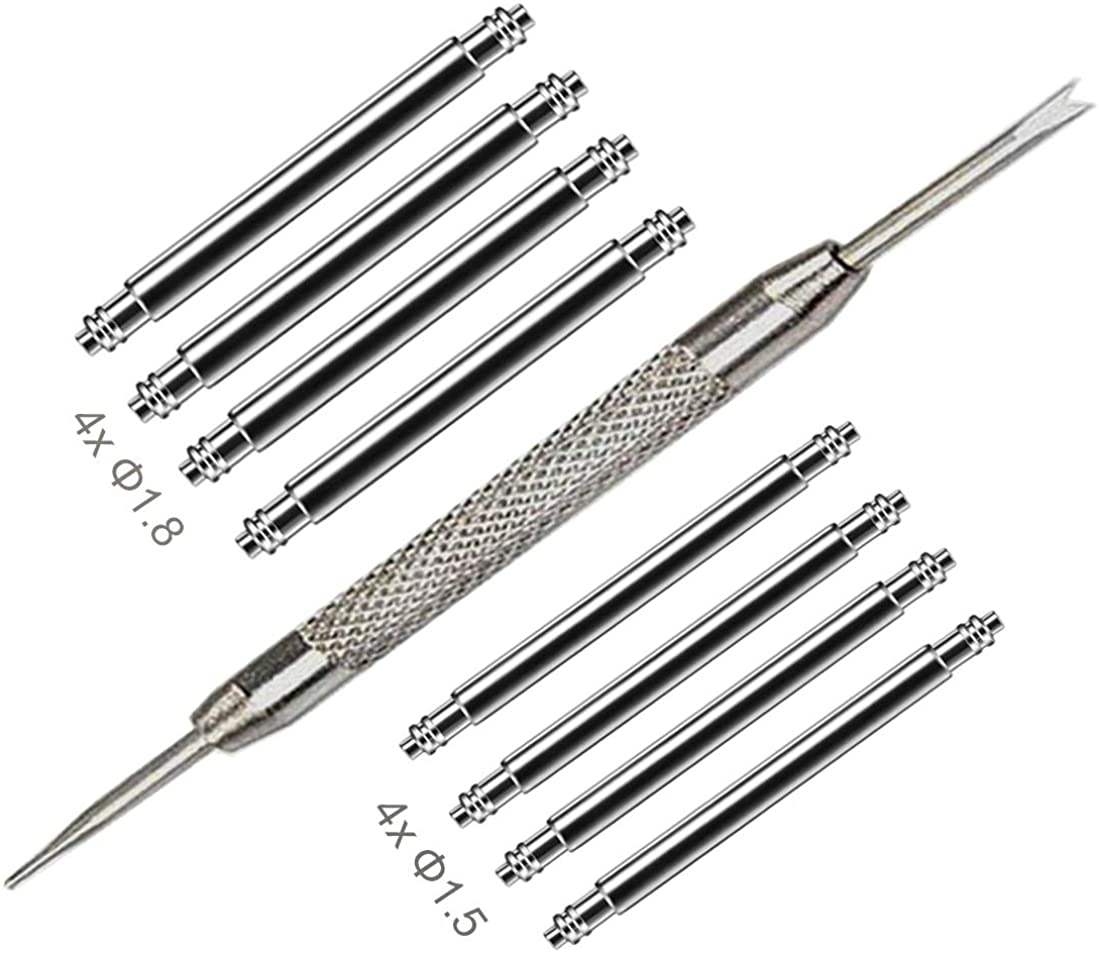 Watch Band Pins Replacement Kit, Heavy Duty Stainless Steel Watch Spring Bars with Watch Strap Remove Tool