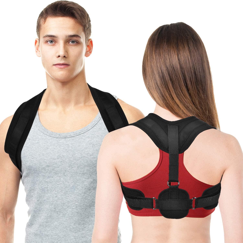Posture Corrector for Women Men Under Clothes, Adjustable Upper Back Braces for Posture Correction, Comfortable Breathable Back Straightener Posture Corrector for Back Neck and Shoulder Support