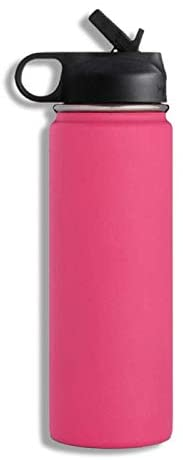 Wide Mouth Stainless Steel 18oz Sports Water Bottle with Double Wall Vacuum Insulated (pink)