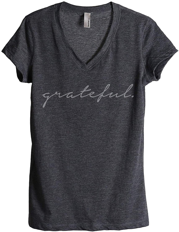 Thread Tank Grateful Women's Fashion Relaxed V-Neck T-Shirt Tee