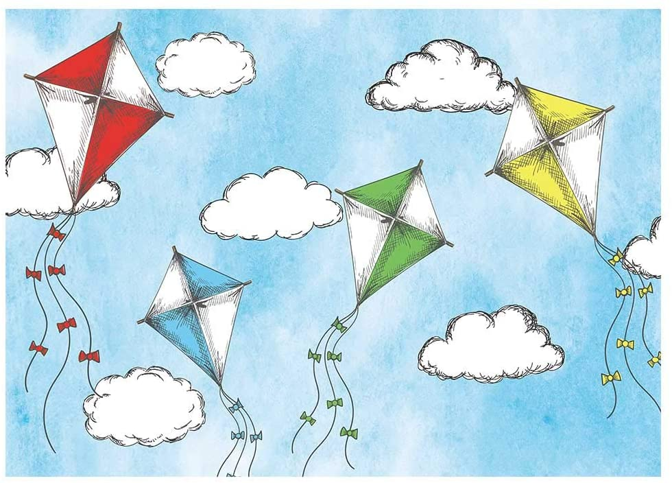 Funnytree 7x5FT Blue Sky Fly A Kite Backdrop Up in The Clouds Boy First Birthday Baby Shower Party Banner Decoration Supplies Cartoon Background Photobooth Prop