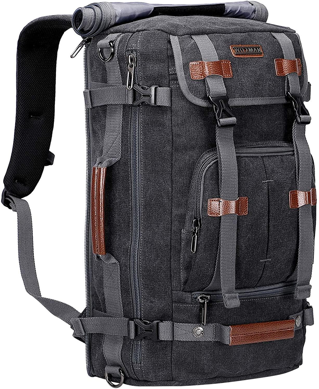 WITZMAN Canvas Backpack Vintage Travel Backpack Large Laptop Bags Convertible Shoulder Rucksack