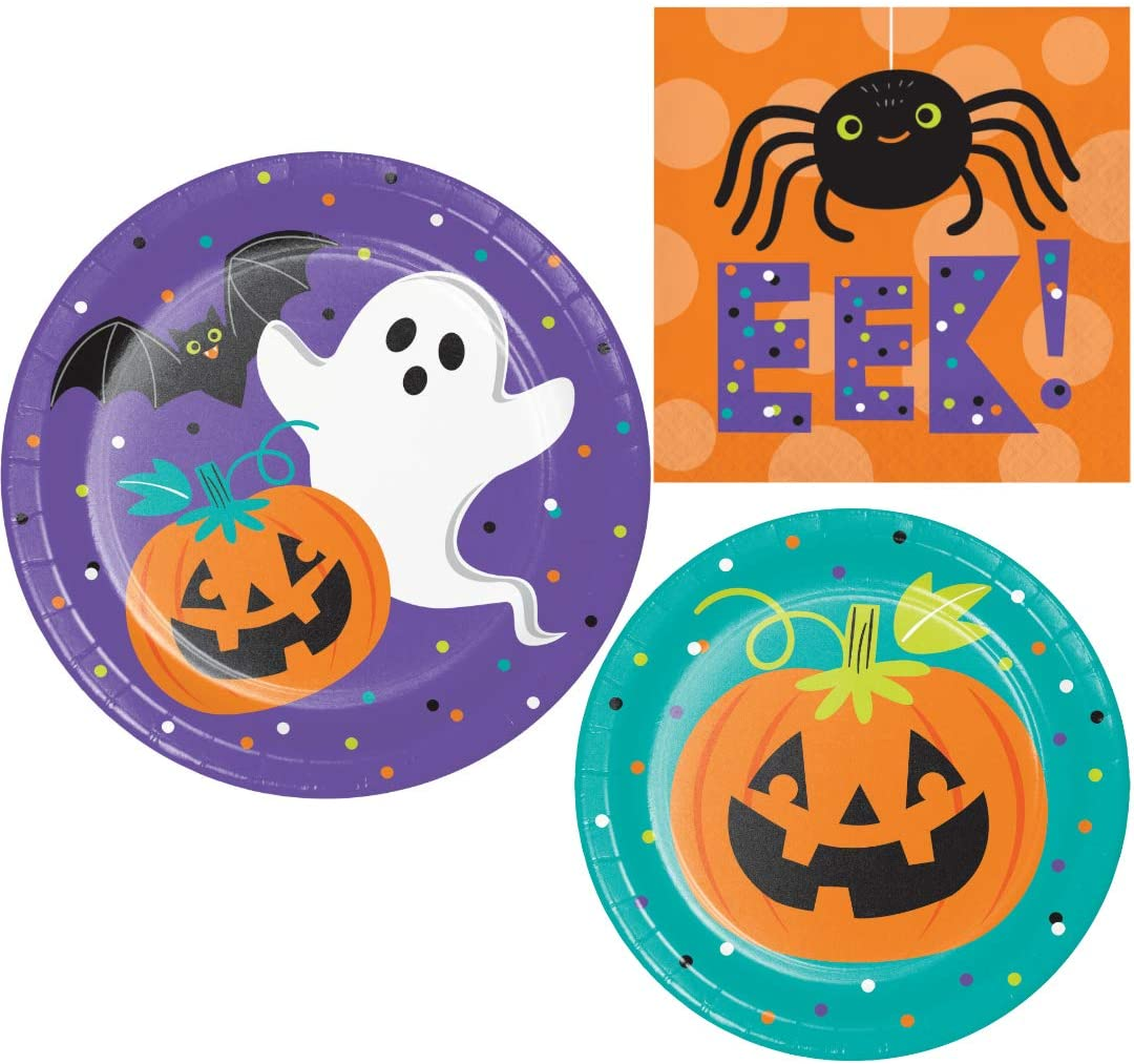 Halloween Party Supplies | Bundle Includes Paper Plates and Napkins for 16 People | Family Friendly Friends of Halloween Design