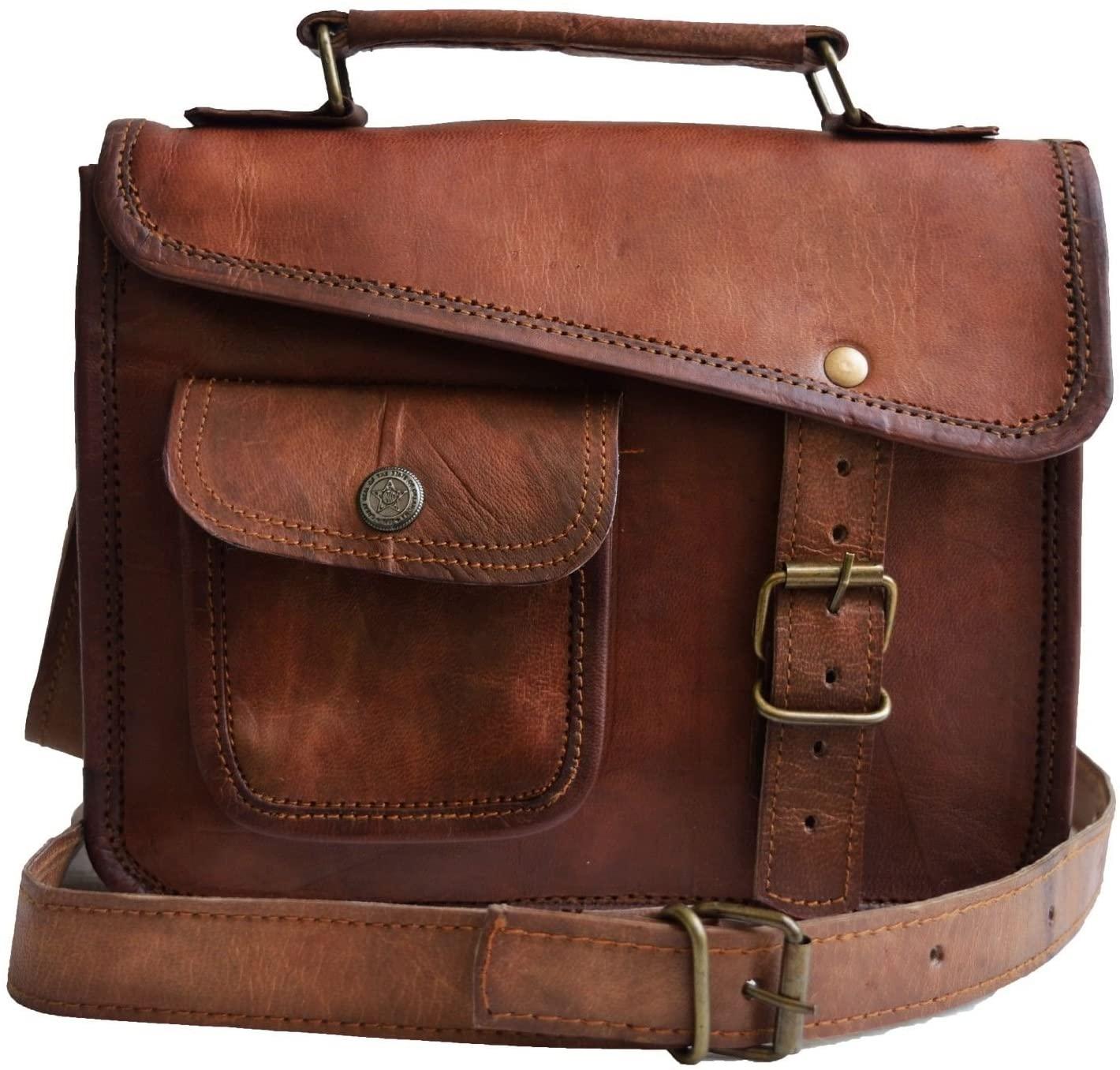 Jaald Mens Leather Messenger Bag Shoulder Bag Vintage Satchel Man Purse Brown