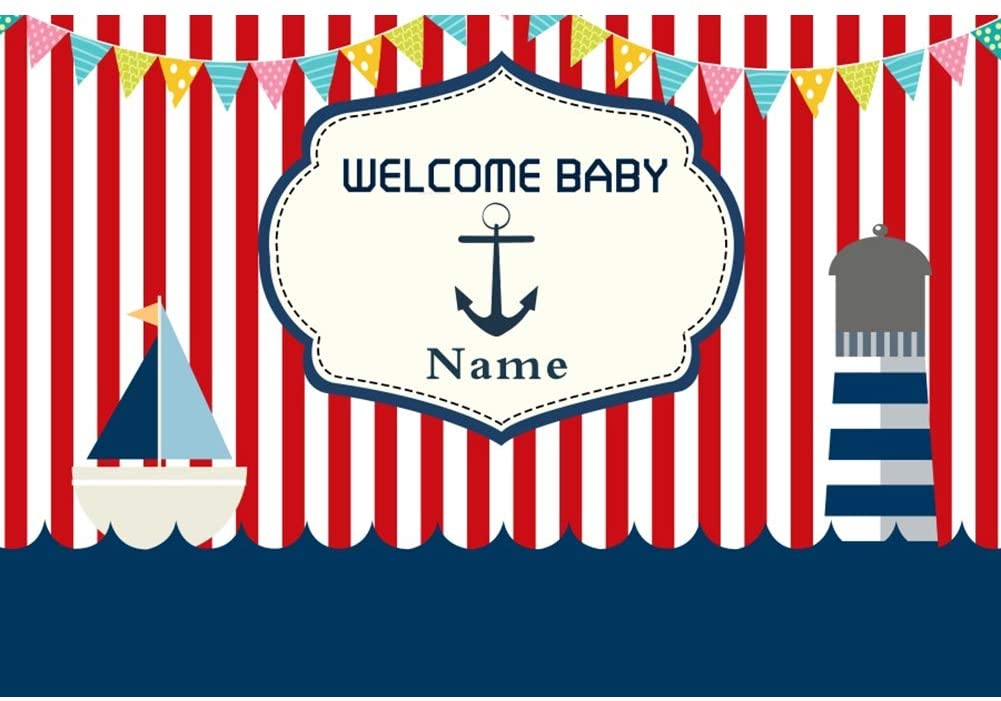 YongFoto 5x3ft Welcome Baby Name Customized Backdrop Chidren Nautical Theme Party Background Red Stripes Sailboat Colorful Flags Baby Shower Banner Kid Child Boys Portrait Studio Props Wallpaper