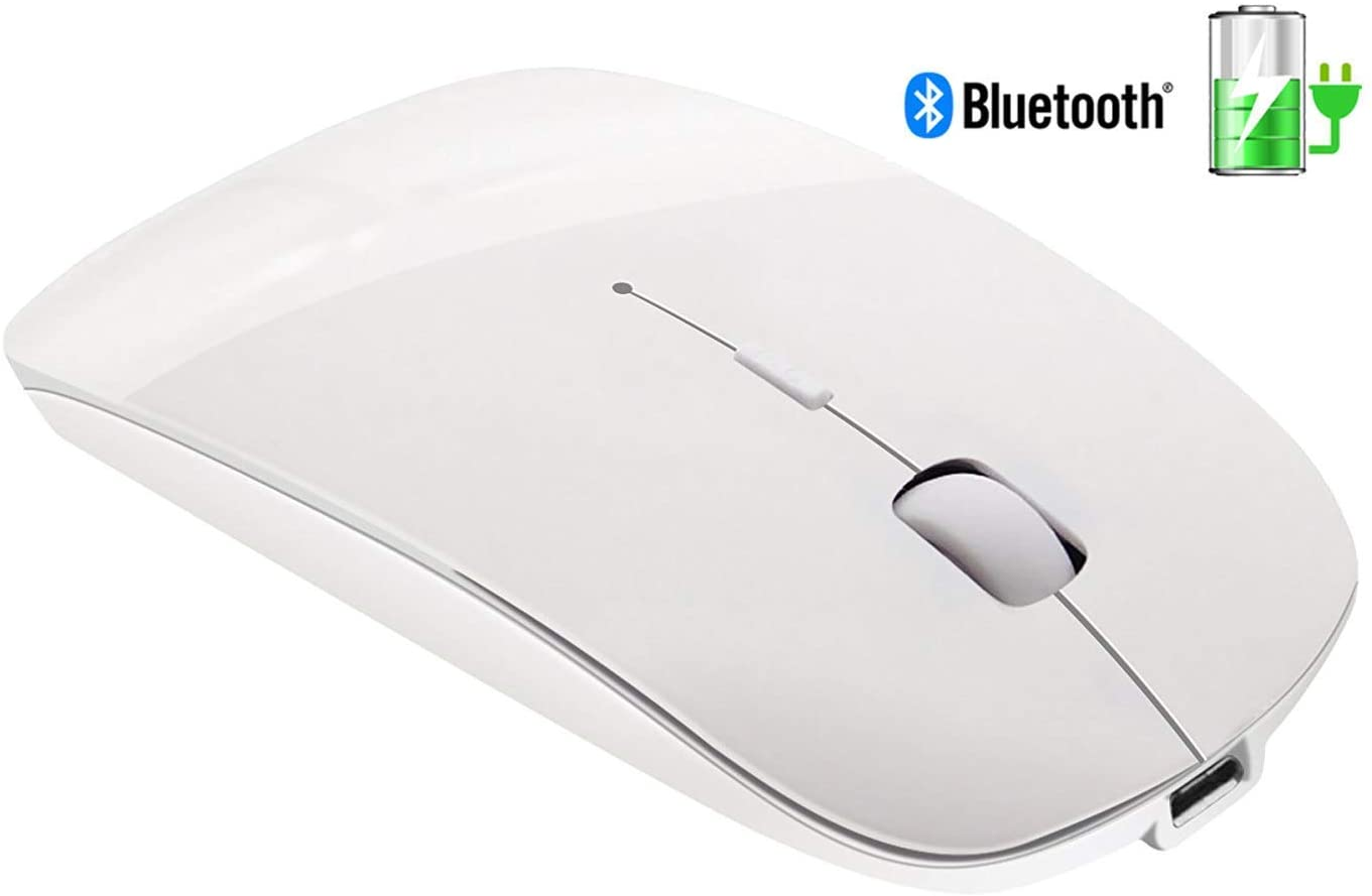 Tsmine Bluetooth Wireless Mouse, Slim Rechargeable Bluetooth Mouse Ultra-Thin Noiseless Click & 3 Adjustable DPI Level, Wireless Mouse for Laptop, Tablet, iMac, MacBook Air - White