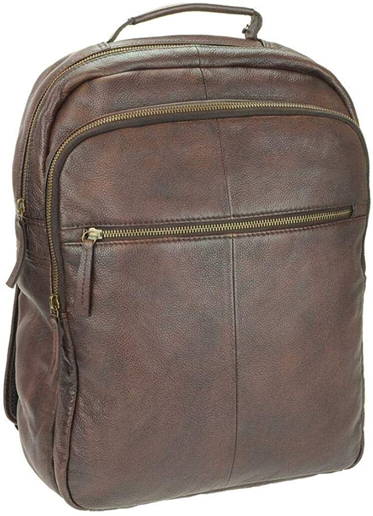 CTM Men's Top Handle Leather Backpack