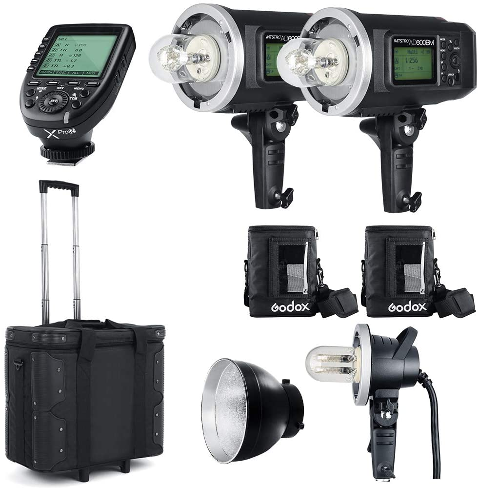 2PCS Godox AD600BM Bowens Mount 600Ws GN87 High Speed Sync Outdoor Flash Strobe Light with Xpro-N Trigger/AD-H1200B / 1200W Flash Tube / PB600 / Reflector/Draw-Bar Box/AD-Glass Cover