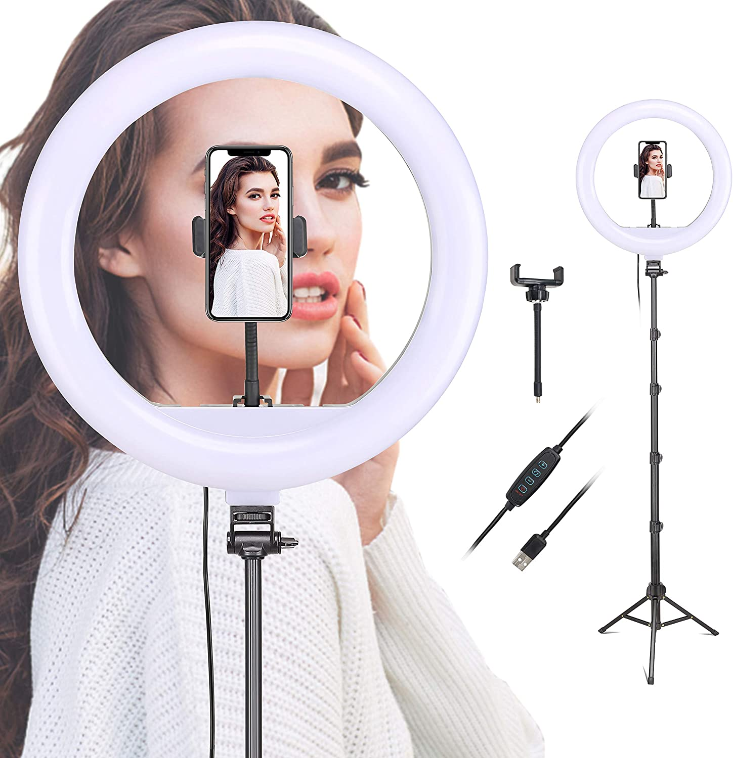 Dimmable Ring Light 12-Inch Led Beauty Photography Fill Light with Foldable Tripod Stand Cellphone Holder for Camera Phone YouTube Live Streaming Self-Portrait Selfie Video Studio Shooting