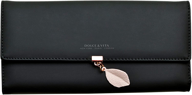Wallets for Women Large Wallet Leather Phone Wallet Ladies Girls Cute Long Slim Trifold Soft Purse Unique Original (Black)