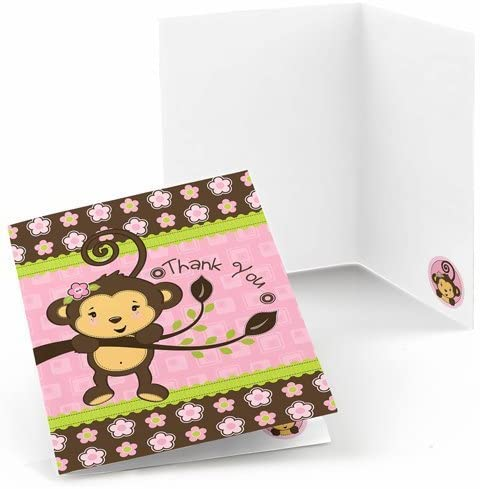 Big Dot of Happiness Pink Monkey Girl - Baby Shower or Birthday Party Thank You Cards (8 Count)