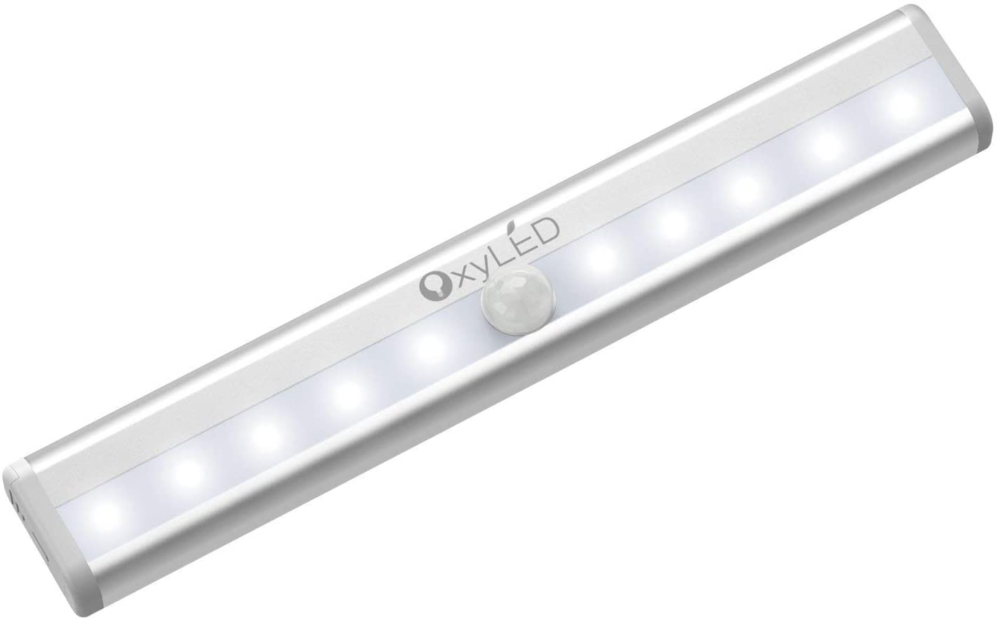 OxyLED Motion Sensor Closet Lights, Cordless Under Cabinet Lightening, Wireless Stick-on Anywhere Battery Operated 10 LED Night Light Bar, Safe Lights for Closet Cabinet Wardrobe Stairs (1 Pack)