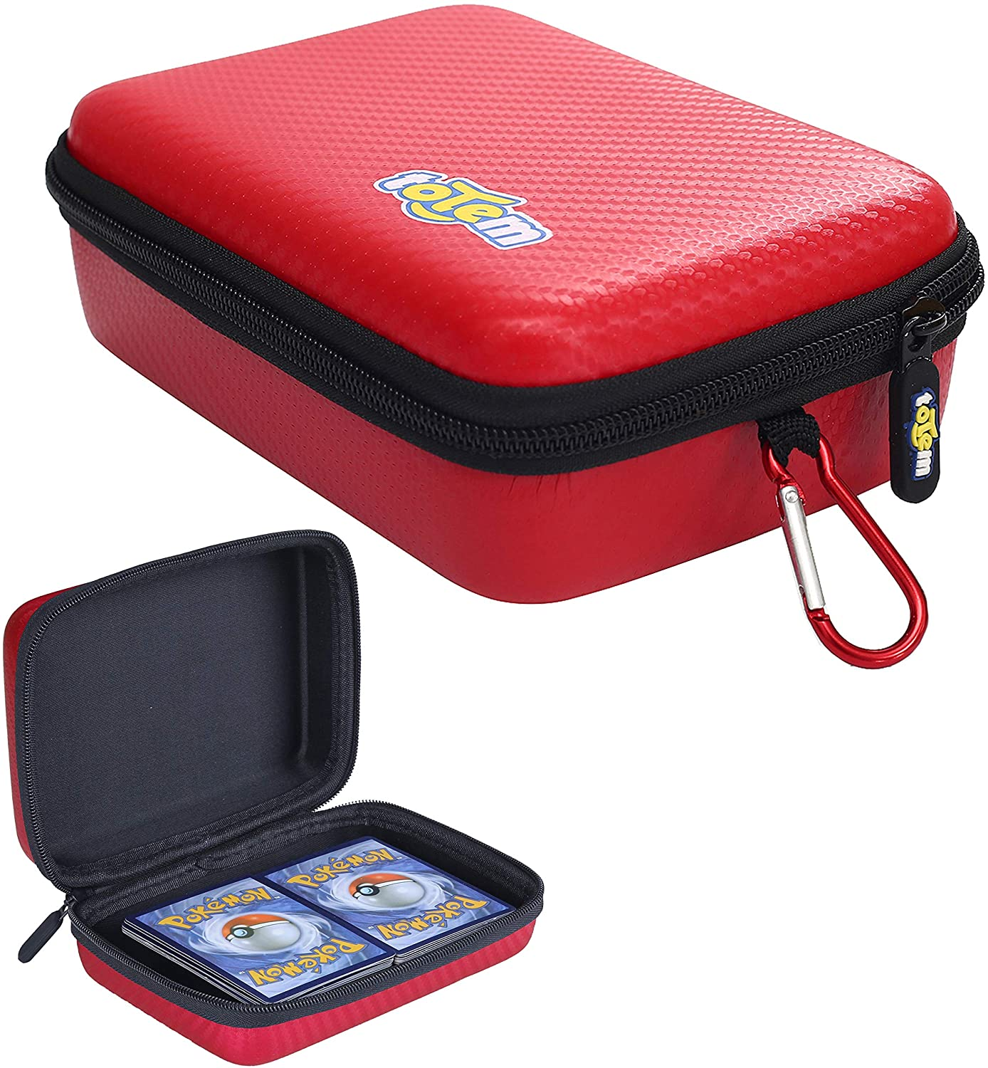 Totem Word 200+ Card Zipper Case Organizer - Compatible with Pokemon, Yu-Gi-Oh, and Magic The Gathering Cards - Perfect for Card Collectors, Storage & Protection