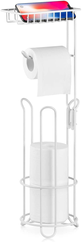 XEEX Free Standing Toilet Paper Holder with Shelf Bathroom Toilets Tissue roll Stand Milky White Black Dispenser toulet 3 Spare Rolls Storage (Milky White)
