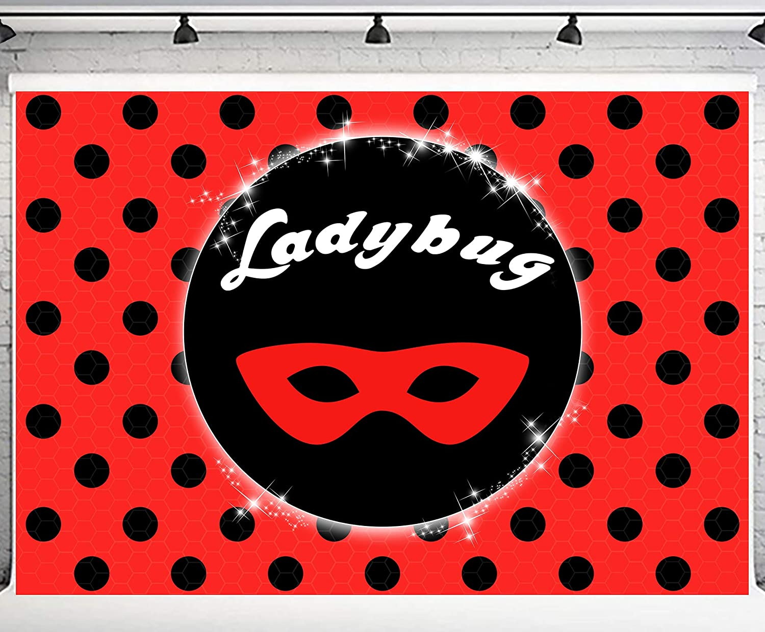 PHMOJEN Red Ladybug Theme Backdrop 10x7ft Miraculous Black Dots Red Mask Photography Background Party Banner DSPH286