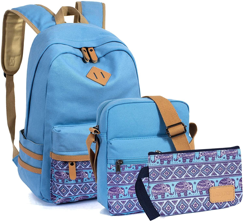 VOLINER 3Pcs/Set Cute School Laptop Backpack Shoulder Messenger Bag Pencil Pouch Light Blue
